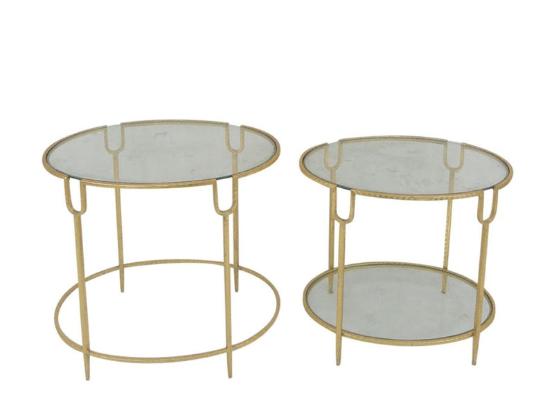 S/2 ROUND GOLD ACCENT TABLES,GLASS TOP (771144482912)
