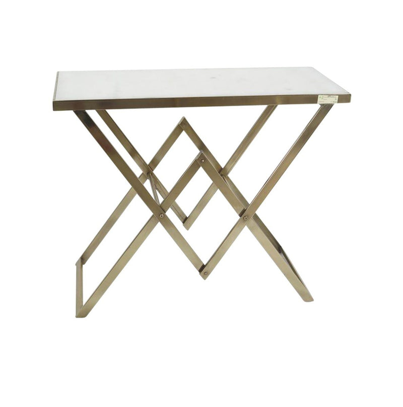 Metal Console Table, Marble Top, Gold, Kd
