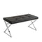 Bench W/Faux Leather Seat, Silver/Black, Kd