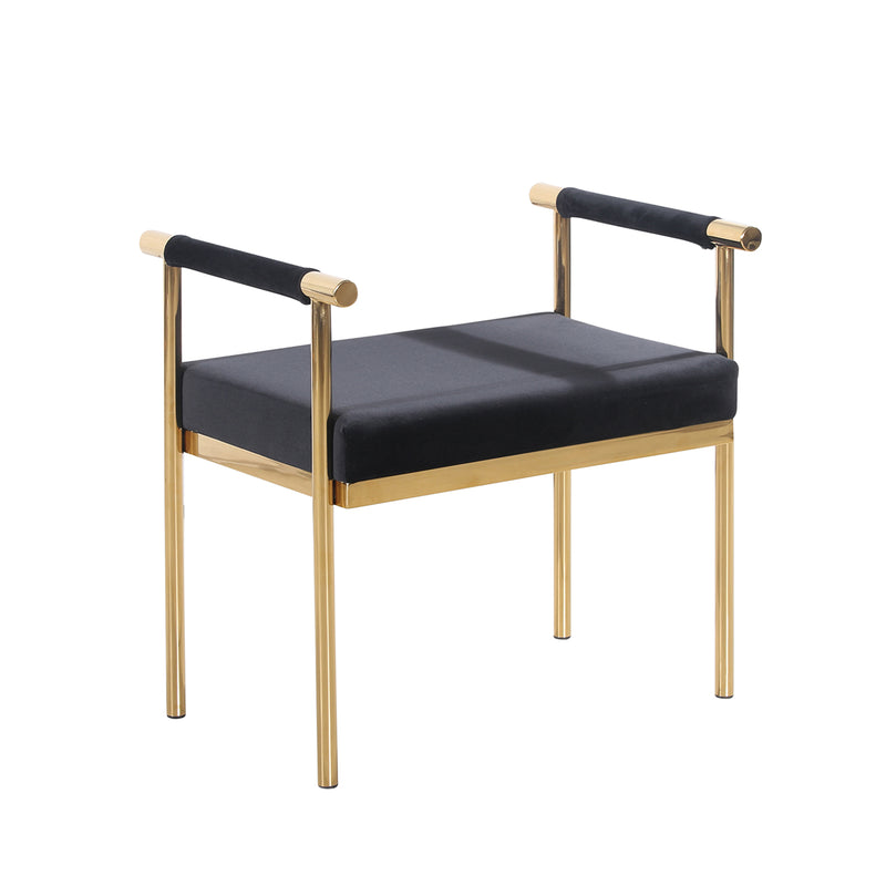 Black/Gold Velveteen Bench w/ Arms, KDARMS