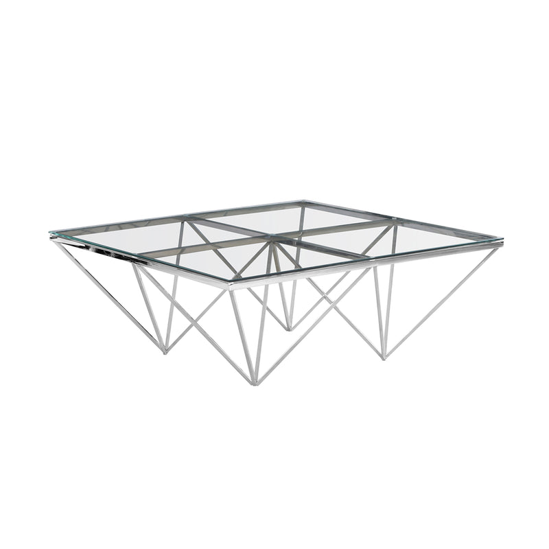 Silver Diamond Leg Cocktail Table, Glass - Al Rugaib Furniture (771150151776)