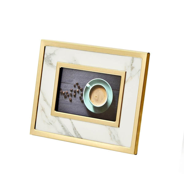 WHITE MARBLE/GOLD PHOTO FRAME17""