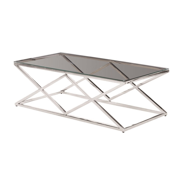 STAINLESS STEEL & GLASS COFFEE TABLE, SILVER  KD - Al Rugaib Furniture (1512139718752)