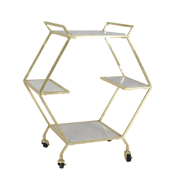 METAL & MARBLE BAR CART, GOLD (2241562804320)