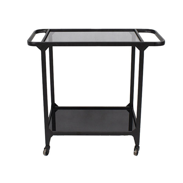 METAL & GLASS BAR CART, BLACK - Al Rugaib Furniture (2015911575648)