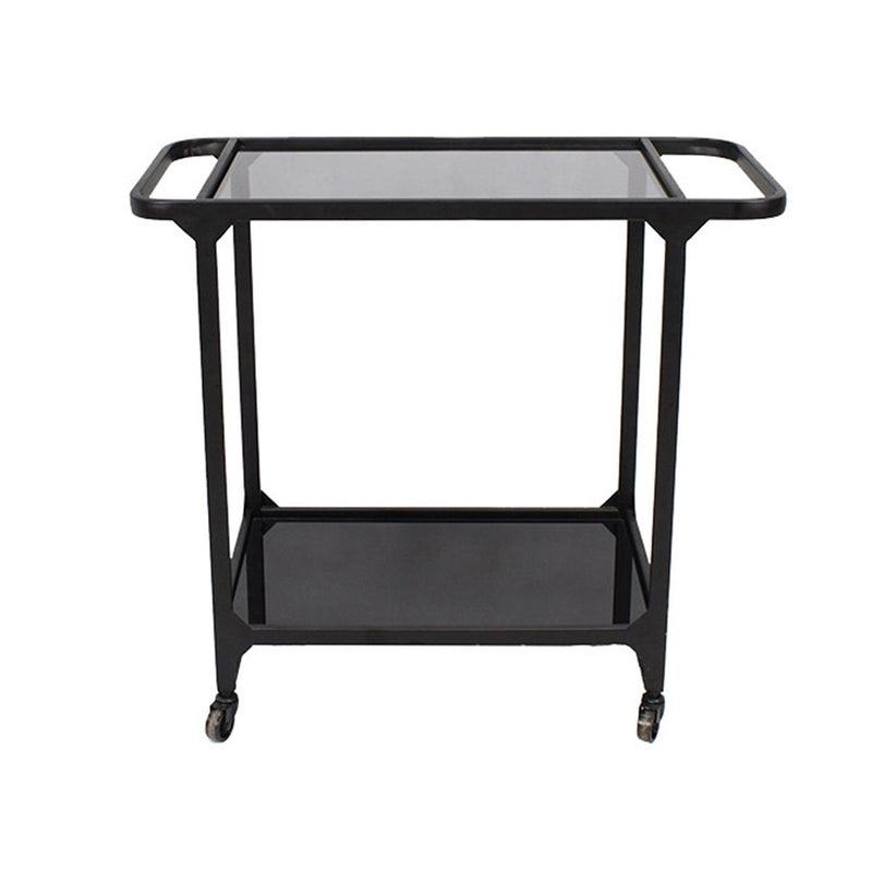 METAL & GLASS BAR CART, BLACK (2015911575648)