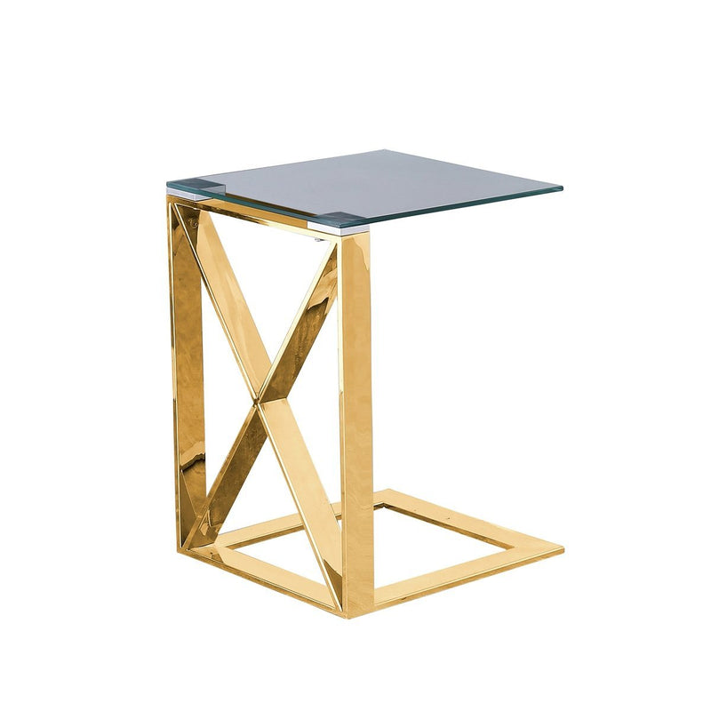 "Metal ""X"" frame 22"" side table, Gold - Al Rugaib Furniture (1942175055968)"