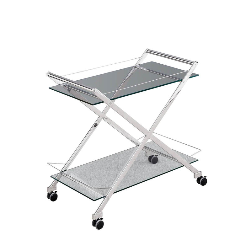 "TWO TIER 31"" ROLLING BAR CART,SILVER (2241700986976)"