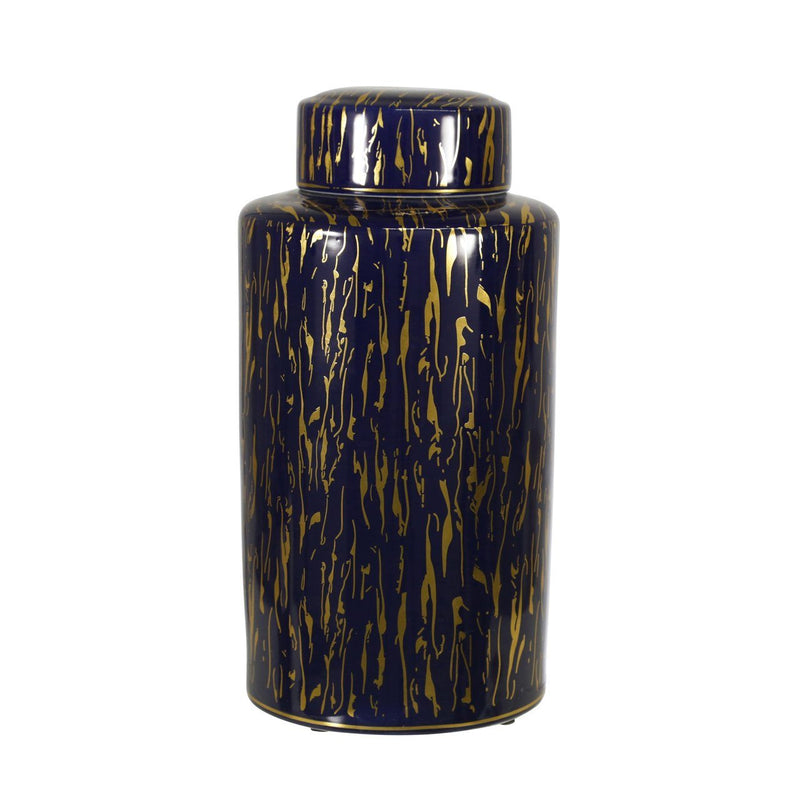 "CERAMIC 16""H JAR, BLUE/GOLD - Al Rugaib Furniture (4612990468192)"
