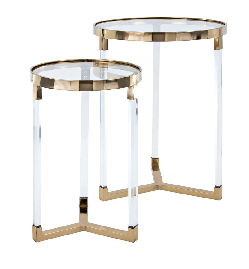 GOLD & ACRYLIC END TABLES, SET OF 2 (4794533511264)