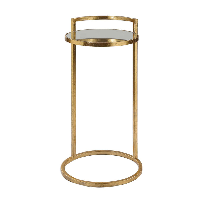Cailin Contemporary Bright Gold Leaf Gold Accent Table