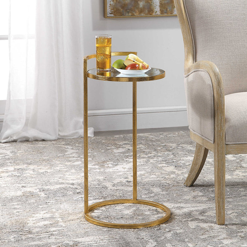 Cailin Contemporary Bright Gold Leaf Gold Accent Table (4483205890144)