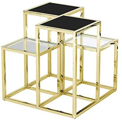 STAINLESS STEEL ACCENT TABLE,GOLD/BLACK GLASS (4804193681504)