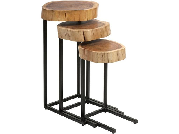 Wood and iron nesting tables- set of 3 - Al Rugaib Furniture (4388889329760)