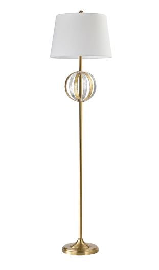 METAL FLOOR LAMPWITH GOLD LEATHER (4732400566368)