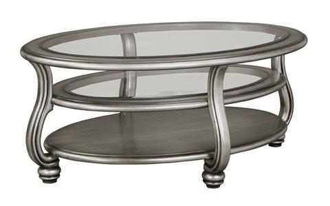 Coralayne - Silver Finish Oval Cocktail Table - Al Rugaib Furniture (8767223954)