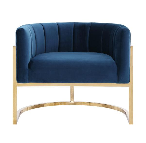 Magnolia Navy Chair with Gold Base (2283032739936)