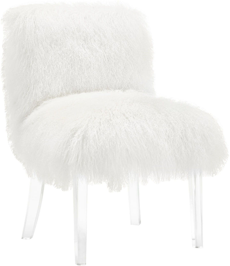 Sophie White Sheepskin Lucite Chair - Al Rugaib Furniture (4576526762080)