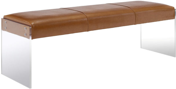 Envy Brown Leather/Acrylic Bench - Al Rugaib Furniture (4576484065376)