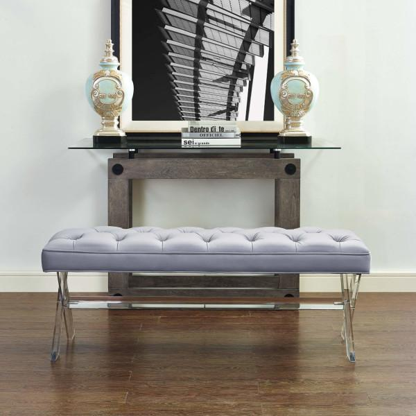 Claira Grey Lucite Bench (2256802021472)