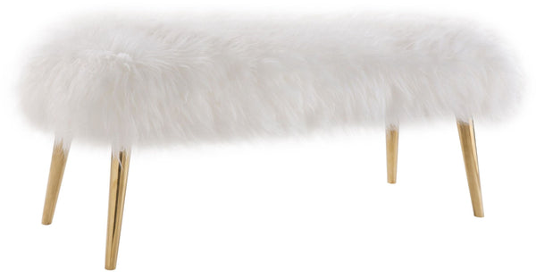 Churra White Sheepskin Bench with Gold Legs - Al Rugaib Furniture (4576474267744)