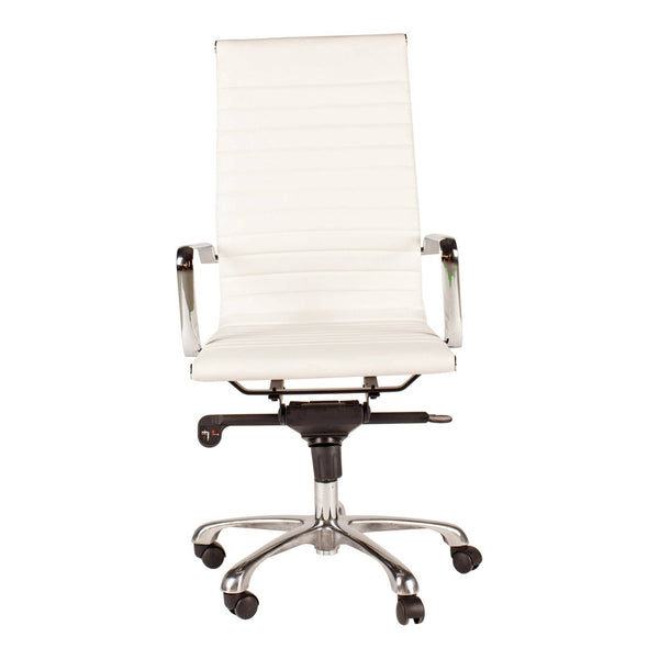 Omega Swivel Office Chair High Back White - Al Rugaib Furniture (4583288111200)