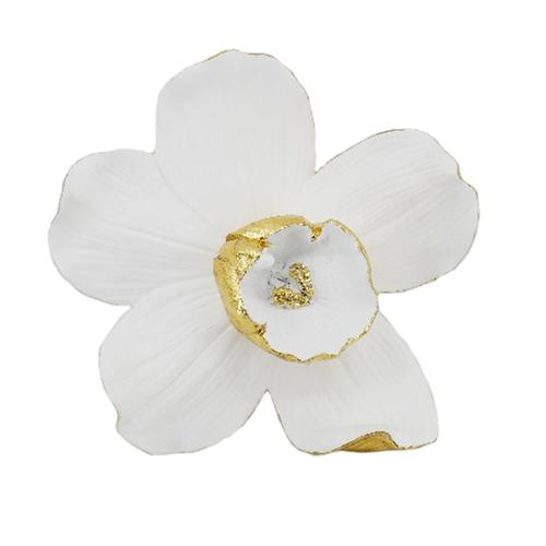 "RESIN 9"" ORCHID WALL HANGER, WHITE/GOLD - Al Rugaib Furniture (4553835413600)"