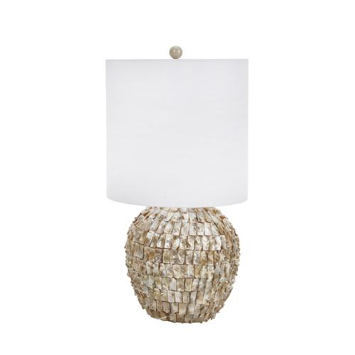 "CERAMIC 30"" ABALONE SHELL TABLE LAMP, BEIGE"