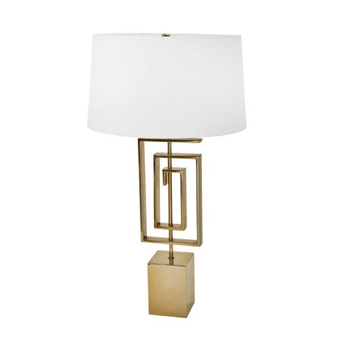 "STAINLESS STEEL 28"" GEOMETRICTABLE LAMP, GOLD - Al Rugaib Furniture (4552276934752)"