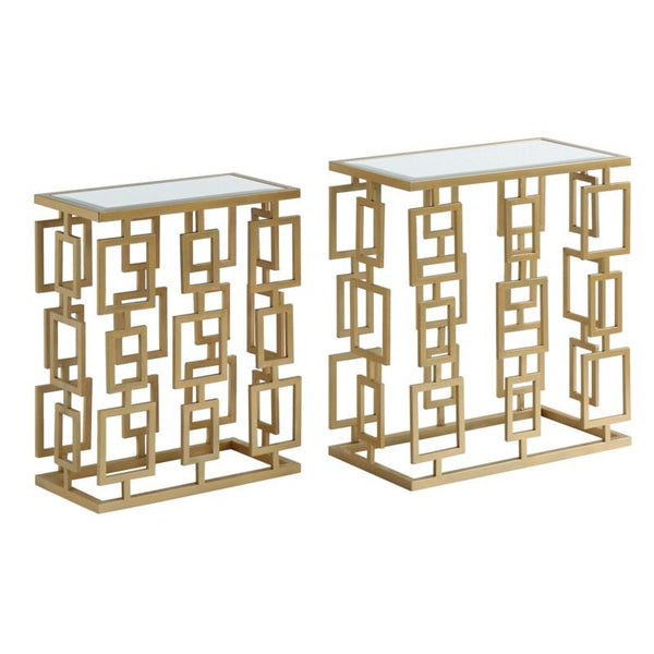 Maddox Rectangle Champagne Metal and Mirror Set of Tables (1988273963104)