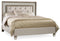 California King Mirrored Upholstered Bed - Al Rugaib Furniture (4688788586592)