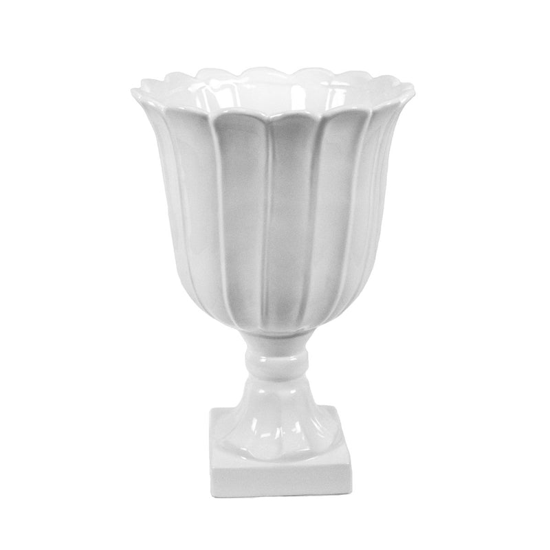 "White Footed Urn Vase 13.75"" - Al Rugaib Furniture (773051383904)"