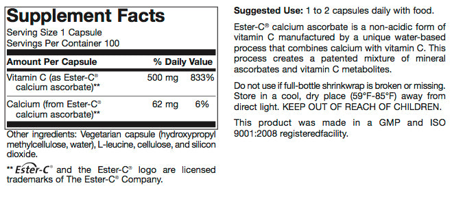 Vitamin C (buffered) 500mg capsules  (FEATURED PRODUCT)