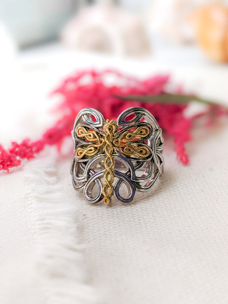Dragonfly Ring - Sterling Sliver with 10k Yellow Gold