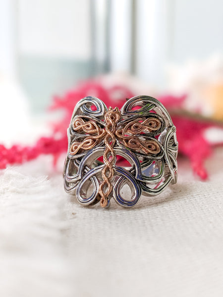 Dragonfly Ring - Sterling Sliver with 10k Rose Gold