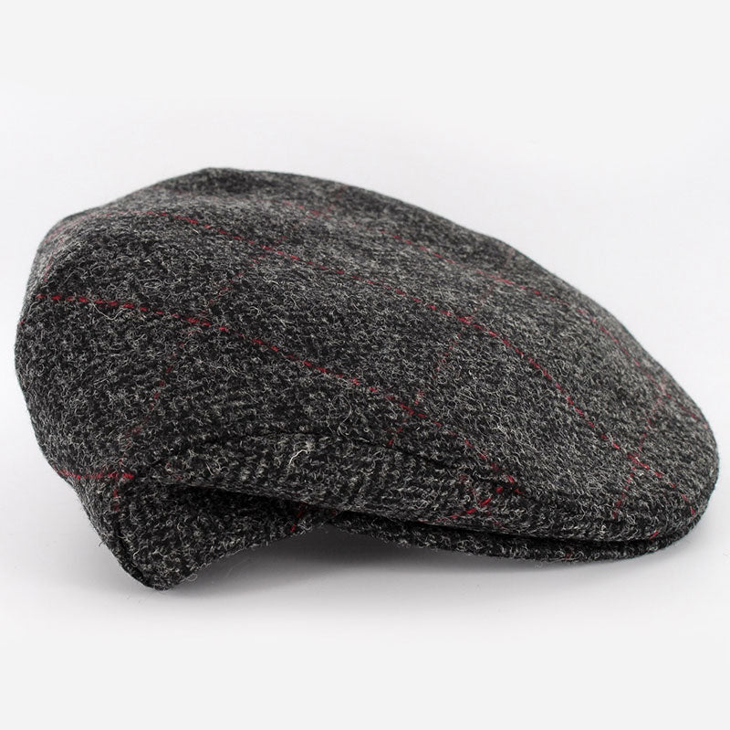 "Mucros Weavers Wool ""Trinity"" Cap - Herringbone Grey/Red check"