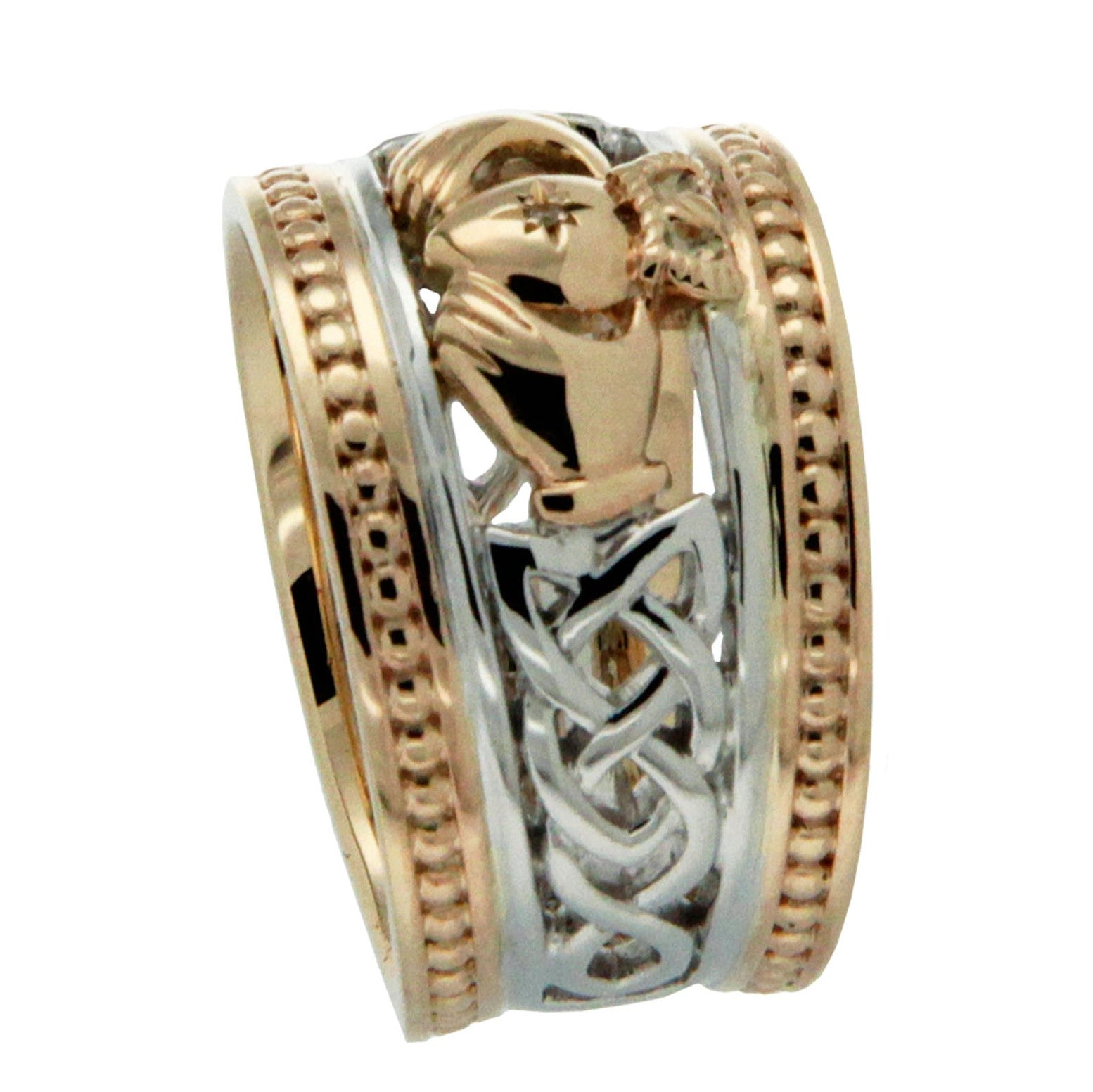 Claddagh Diamond Shield Ring