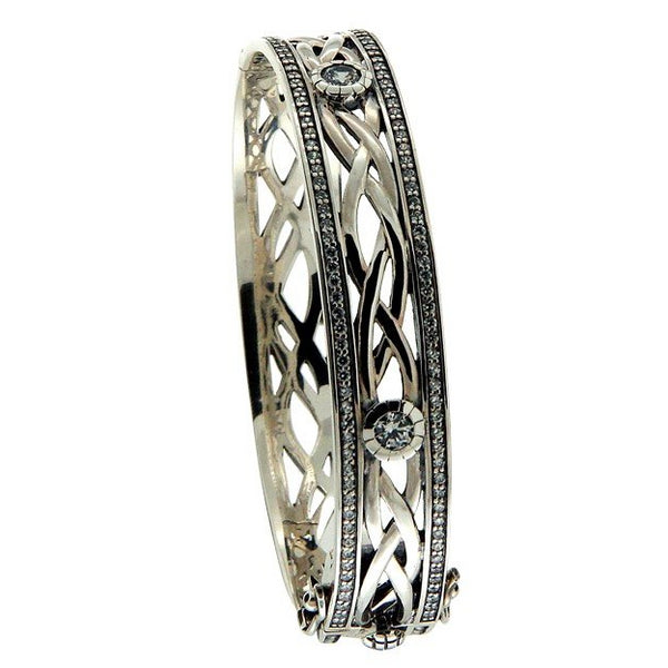 Brave Heart Bangle - Silver + white CZ