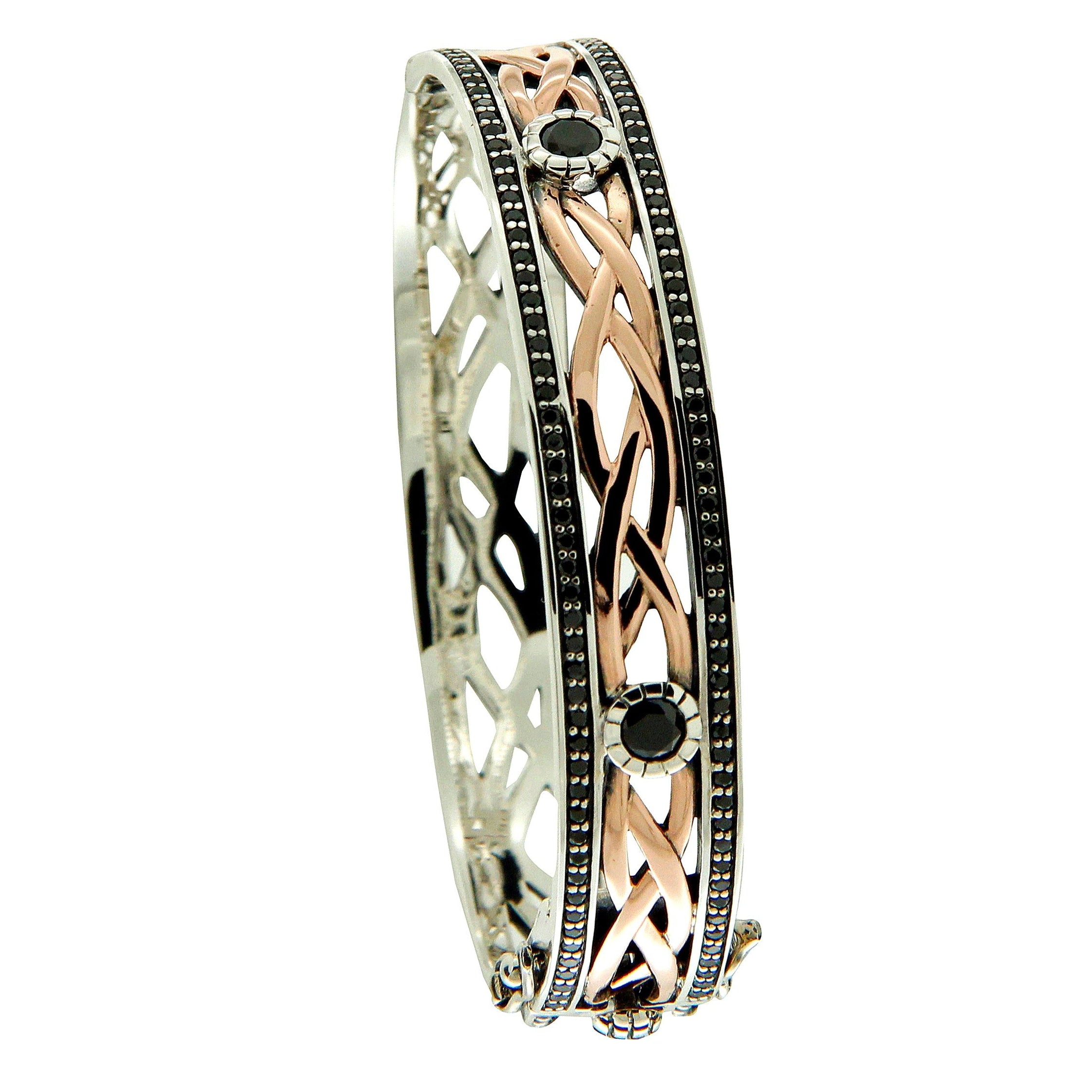 Brave Heart Bangle - Rose + black CZ