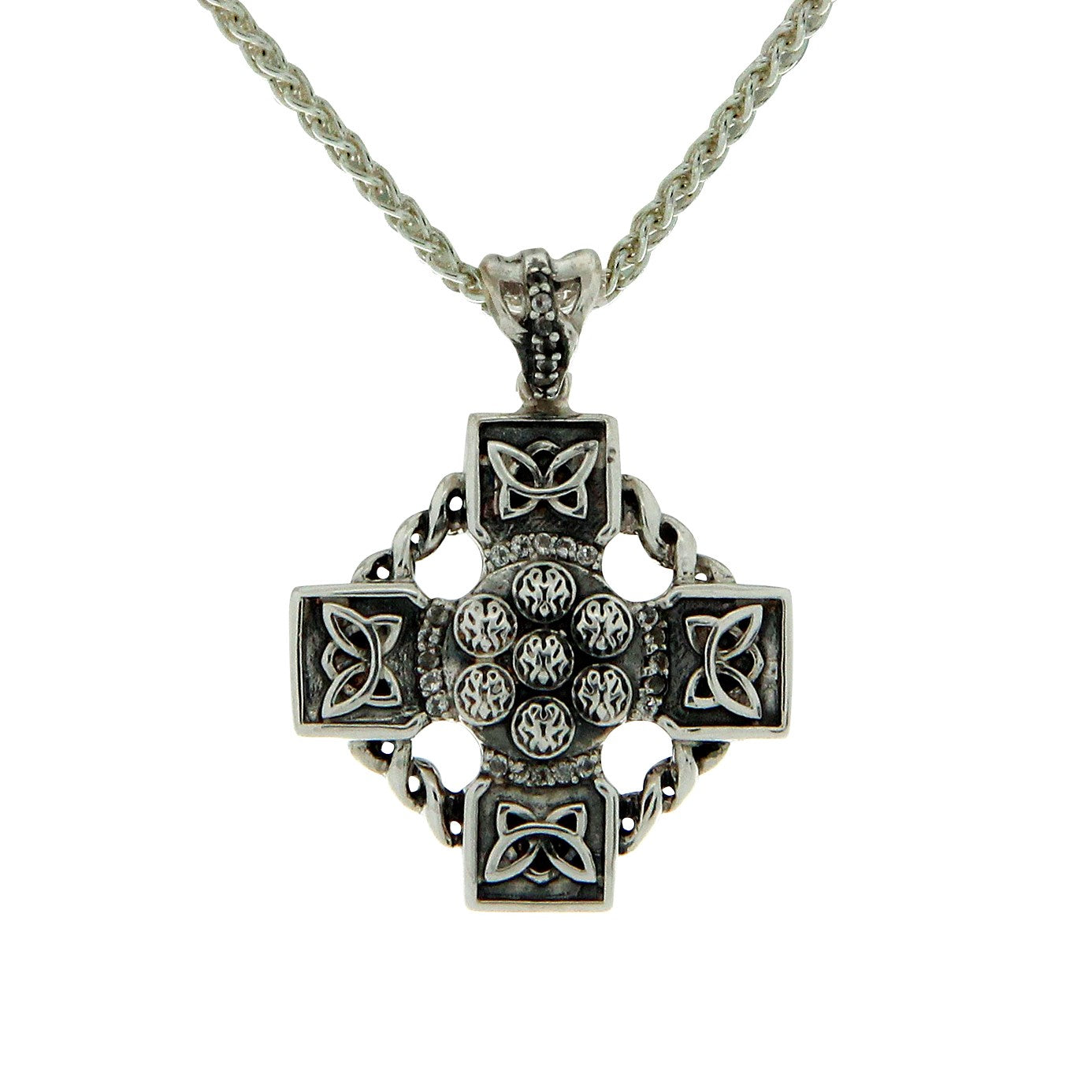 Celtic Wheel Cross - White Topaz