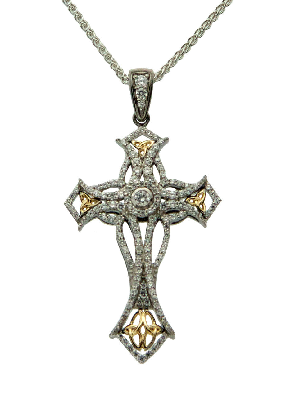 Celtic Cross - Sterling Silver and 10k Yellow Gold with Cubic Zirconia