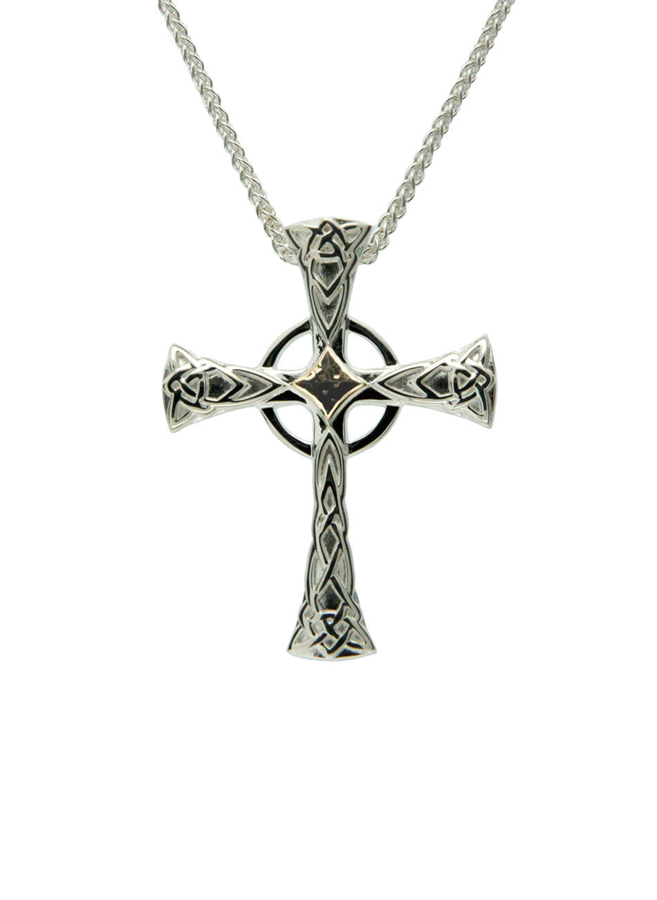 Celtic Cross - Sterling Silver and 10k Yellow Gold