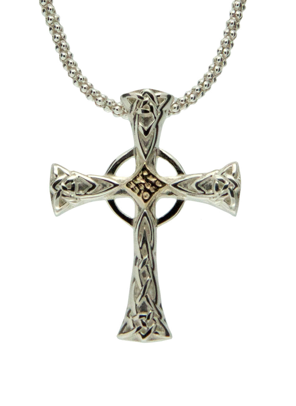 Celtic Cross - Sterling Silver and 10k Yellow Gold - Large