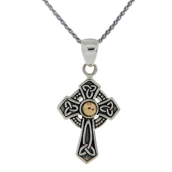 Celtic Cross - Hammered Gold