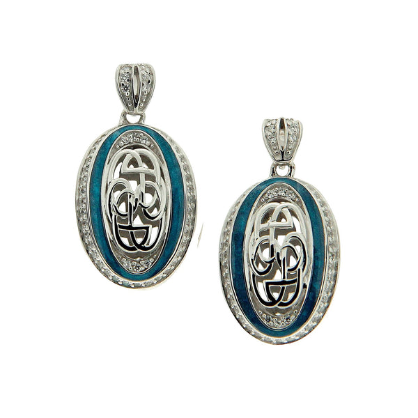 Path of Life Enamel Oval Earrings - Sterling Silver