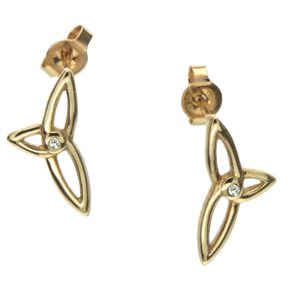 Celtic Synergy Diamond Trinity Earrings - Gold