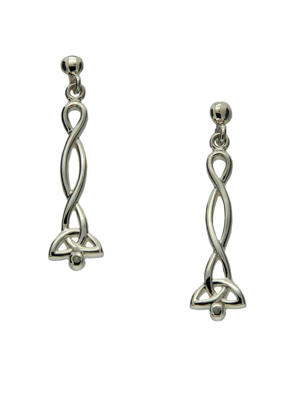 Trinity Knot Earrings - Sterling Silver and Diamond
