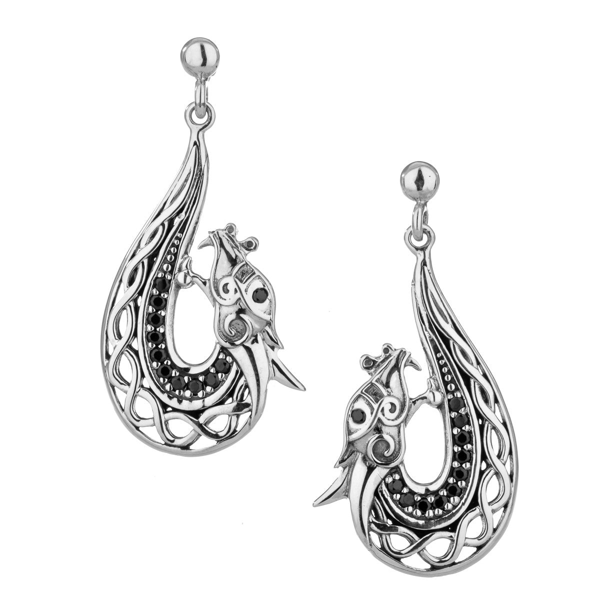 Norse Forge Dragon Earrings - Black Cubic Zirconia