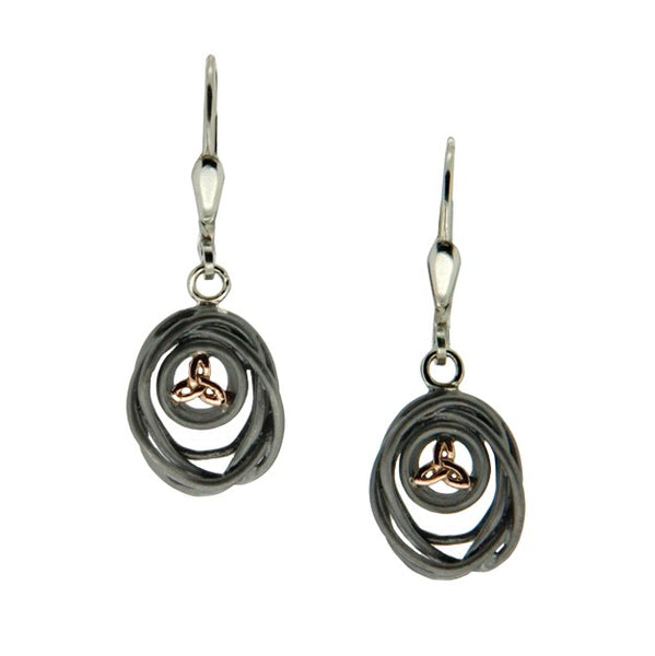 Celtic Cradle of Life Earrings - Ruthenium and Rose Gold