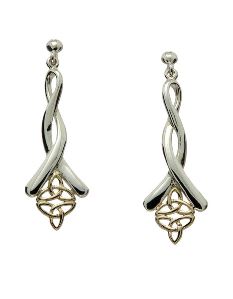 Trinity Knot (double) Earrings - Sterling Silver and 10k Gold